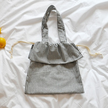 Amorvivi 2019 New Drawstring Literary striped cotton and linen bag Shoulder bag Simple drawstring bag
