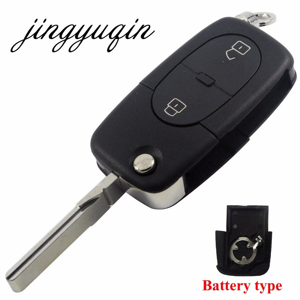 jinyuqin CR1620 Battery Holder Key Shell For Audi A2 A3 A4 A6 Old Models 2 Button Flip Folding Remote Key Case free shipping 3 button flip key shell for cr2032 big battery type2 for audi 10 piece lot