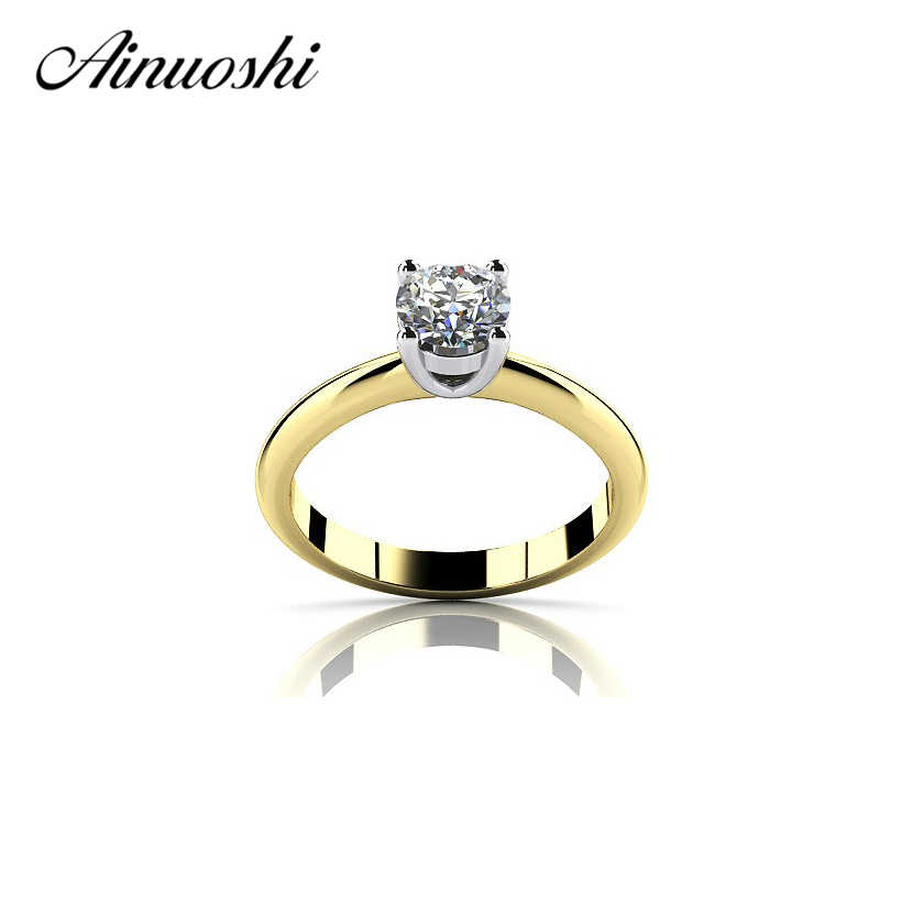 AINOUSHI Yellow Gold Color Solitaire Ring 925 Sterling Silver 1Carat Round Cut Created Engagement Ring Lovers Promise Band Ring