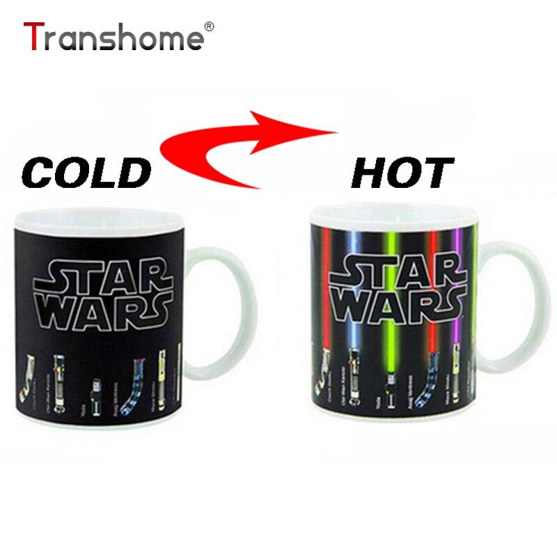 Transhome personalizada cambio de color taza de porcelana Star Wars Lightsaber 11 oz taza de café de cerámica Dragon Ball serie taza de porcelana china