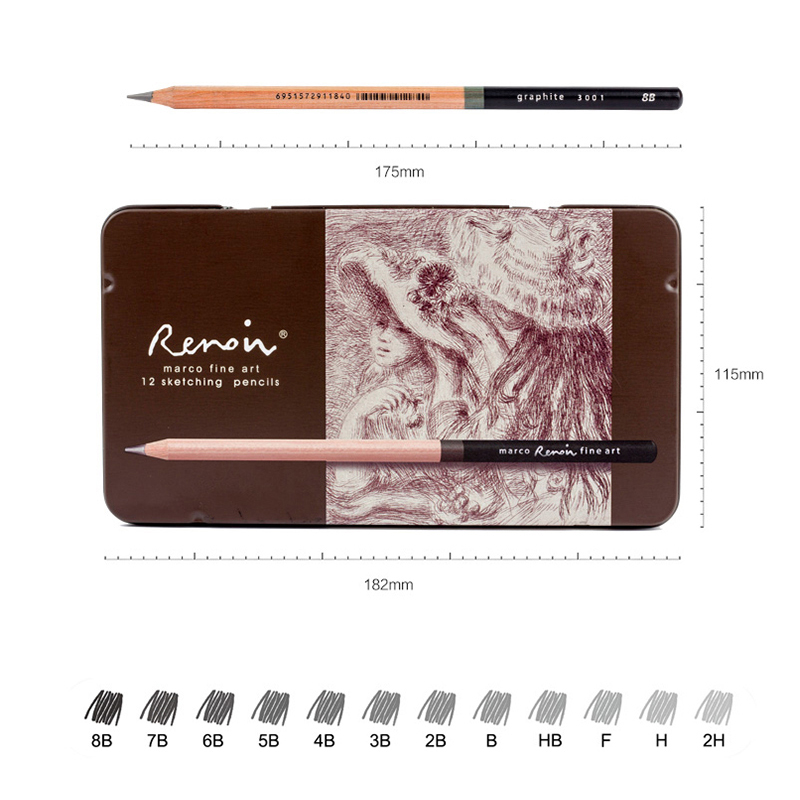 Marco Renoir Premium Professional Art Sketching Pencil Set Iron Box Non-toxic Pastel Drawing Pencils 3001-12pcs /H/F/HB/B/2B/3B 26 38pcs sketching drawing pencil set 3h 2h h hb b 2b 3b 4b 5b 6b 7b 8b 9b with charcoal soft pastel pencils for art supplies