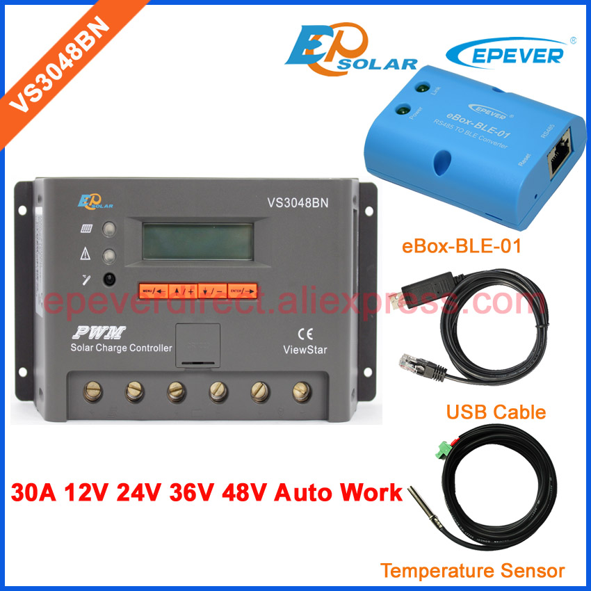 30A 30amp controller VS3048BN with USB cable EPEVER solar charger 12v 24v 36v 48v work temperature sensor and bluetooth function