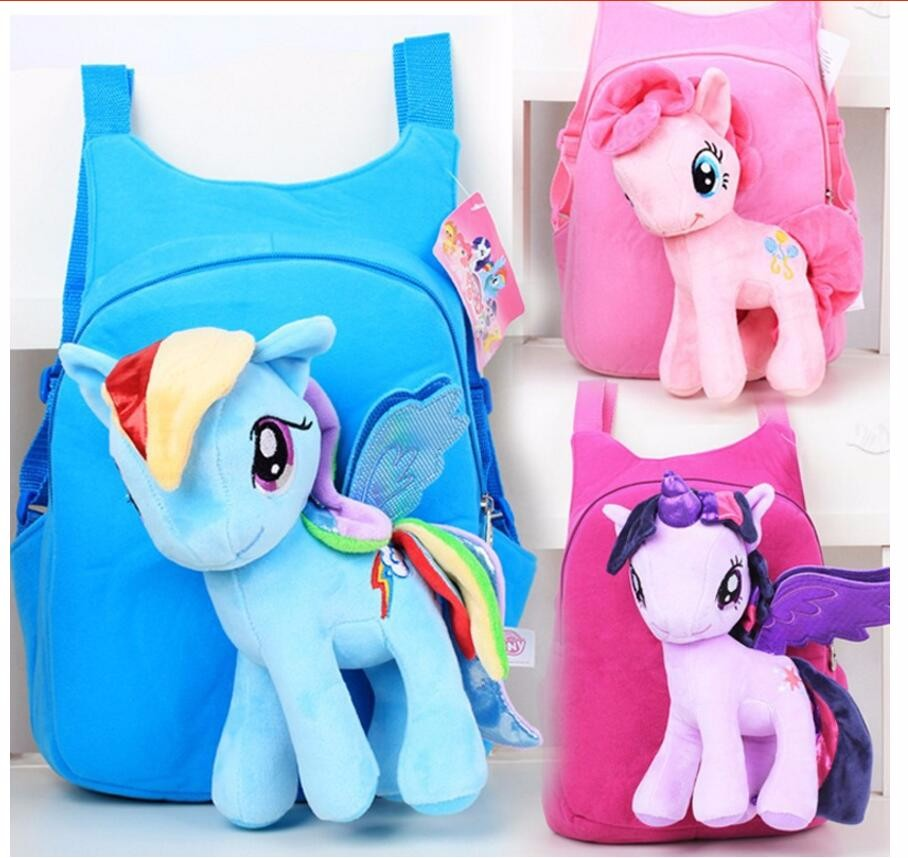 3D my little pony backpack for girls Kids School bag Child Plush Backpacks Baby Schoolbag Cartoon