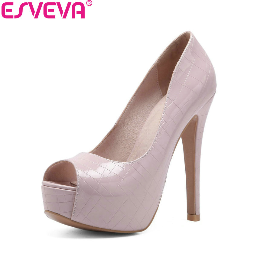 ESVEVA 2018 Women Pumps Shoes Embossed Leather Slip on Thin Super High Heels Solid Peep Toe Platform 5cm Women Shoes Size 34-43 enmayer summer women pumps shoes mixed colors peep toe slip on thin heels platform large size 34 47 red pink green brown