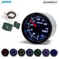 2 52mm 7 Color LED Car Voltmeter Volt Gauge Meter Smoke Lens Pointer Universal Car Meter