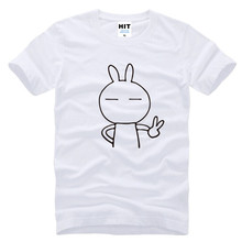 Mens cartoon cute rabbit Keith yes Printed T Shirt Tshirt Men 2016 New Short Sleeve O Neck Cotton T-shirt Tee Camisetas Hombre