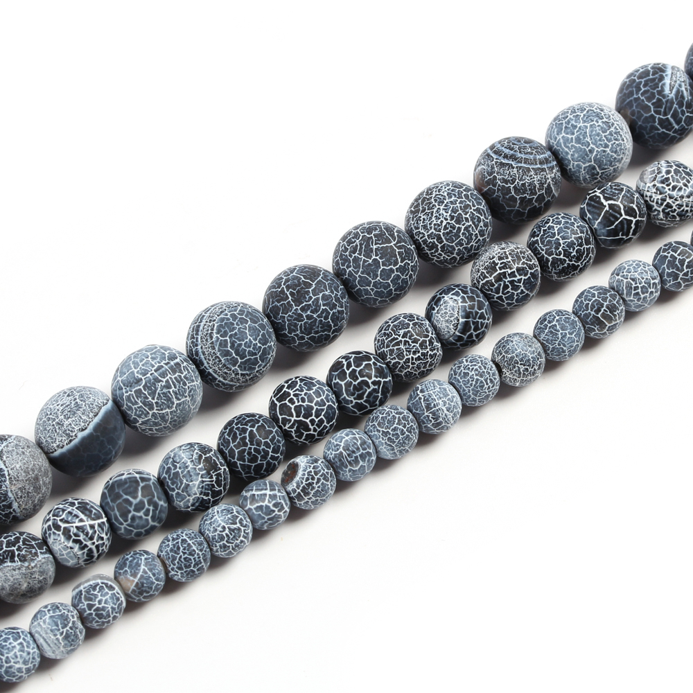 4 6 8 10mm Black Natural Stone Beads for Jewelry Making Diy Bracelet Necklace Round Cracked loose Beads Wholesale S807 in Beads from Jewelry Accessories