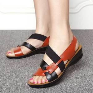 Image 2 - Plus Size Genuine Leather Sandals Women Gladiator Sandals Summer Flat Sandalias Platform Ladies Casual Shoes Zapatos Mujer 2020