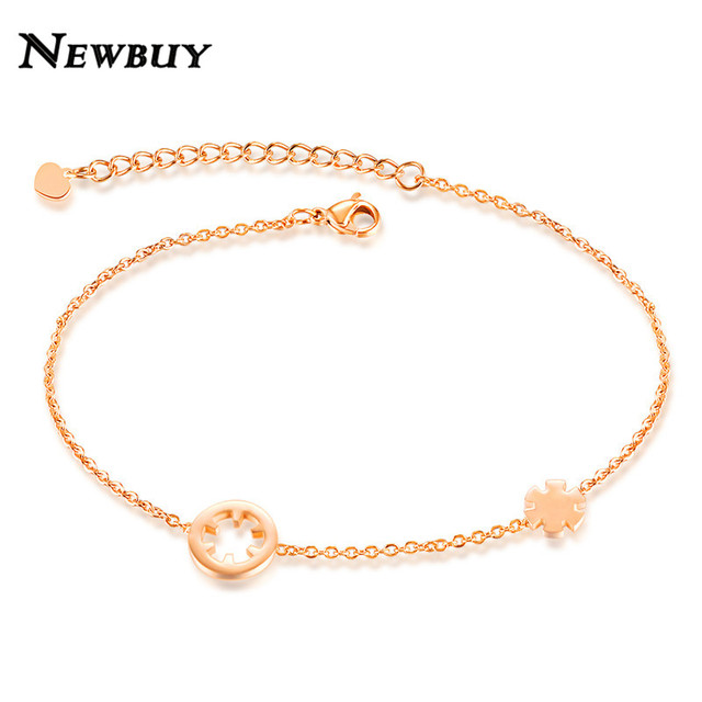 NEWBUY 2017 Fashion Stainless Steel Women Anklets Rose Gold Color