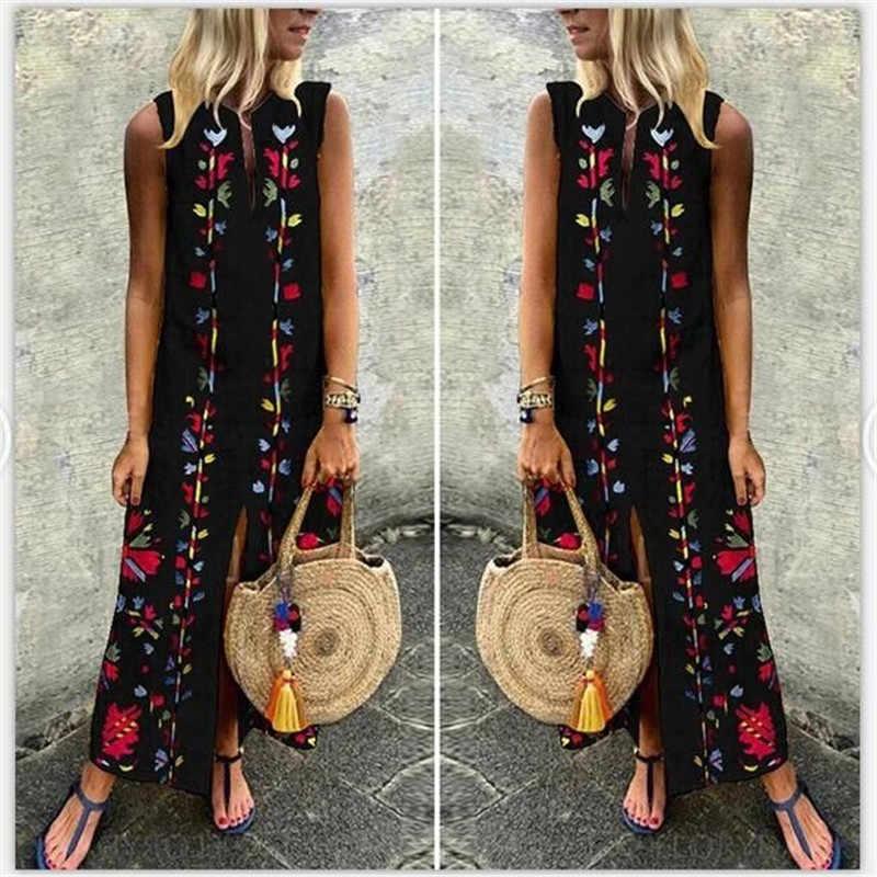 2019 Летнее Длинное платье с цветочным принтом, Пляжное Платье в стиле бохо, туника, макси платье для женщин, вечернее детское летнее платье, Vestidos de festa 5XL