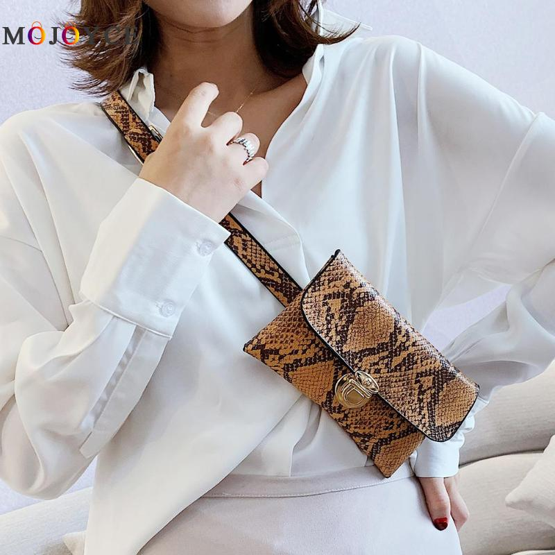 Women's Snake Skin Print Waist Bag Fashion Serpentine PU Leather Fanny Pack For Women Female Chain Envelope Belt Bag
