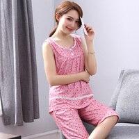 Summer Women's Pajamas sleeveless Sleep Cotton sleepwear vest shorts Women lounge Pajama Set Plus size 3XL