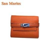 San Maries Ladies Cow Leather Women Wallets Portfolio Luxury Brand Designer Money Bag Cuzdan Walet Pocket Girls