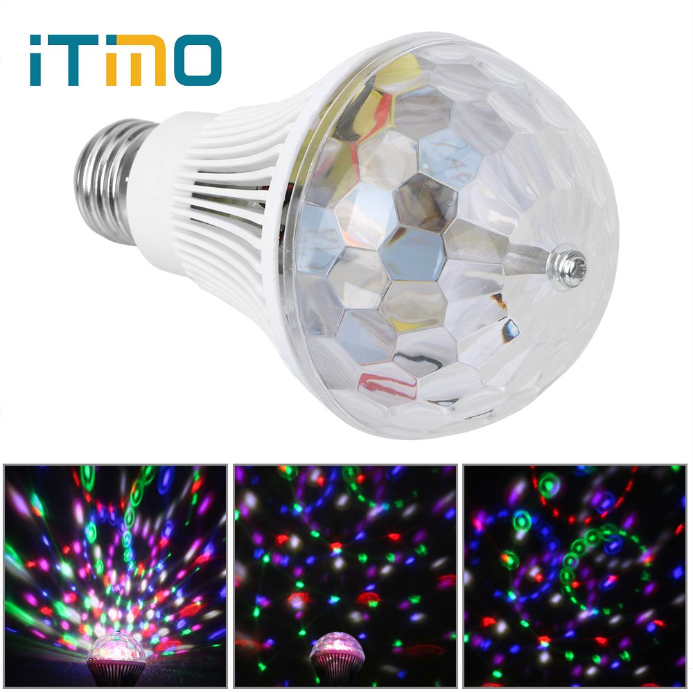 ITimo LED Stage Light Bulb Bars Disco Ballroom KTV Colorful Rotating Light Chrismas Party Voice-activated Light E27 3W