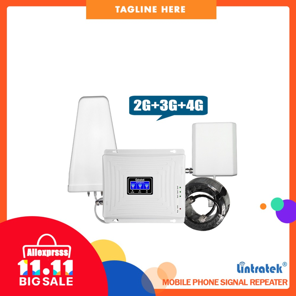 Repeater 4g 3g 2g Tri band Signal Repeater 900 1800 2100 mhz 70dB GSM LTE WCDMA Mobile cellular Signal Booster Verstärker Set