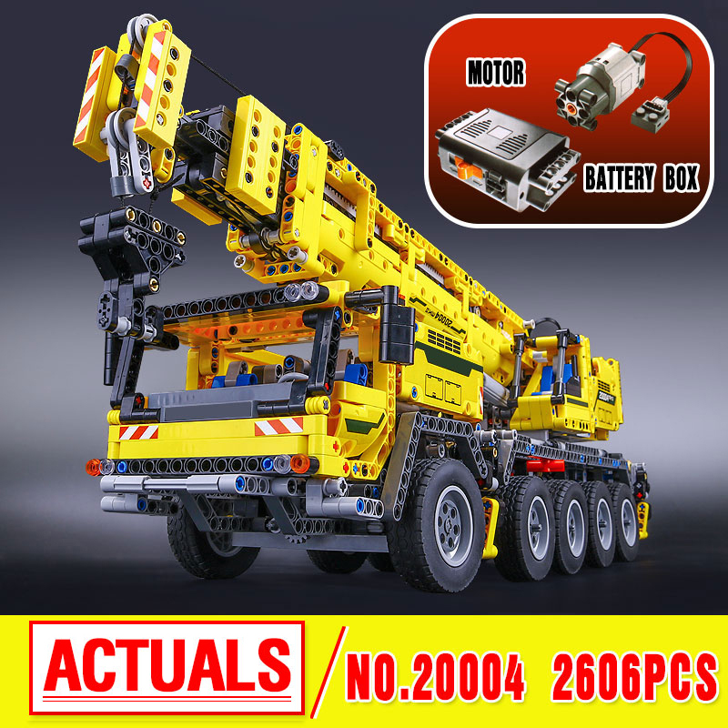 LEPIN 20004 Technic Motor Power Mobile Crane Mk II Model Building Kits Blocks Toy Bricks compatible with 42009 a toy a dream lepin 15008 2462pcs city street creator green grocer model building kits blocks bricks compatible 10185