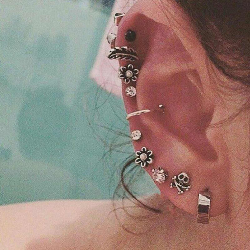 RscvonM SKULL Boho Silver Color Stud Earring Set Flower Crystal Retro Fashion Earrings For Women  Stud Earing Brincos Jewelry