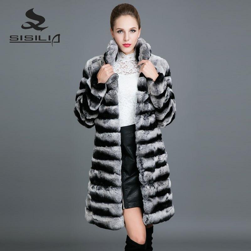 SISILIA 2017 nouveauté manteau de fourrure de lapin à rayures pour femmes veste de fourrure naturelle fermeture à glissière amovible longue bonne fourrure manteaux de femme
