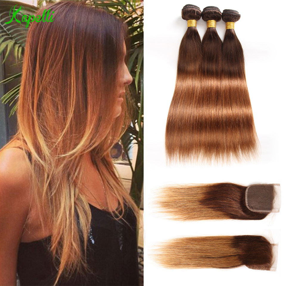Ombre Bundles with Closure T4/30 Blonde Ombre Peruvian Hair Weave Ombre Straight Human Hair 3 Bundles with Closure Remy Hair