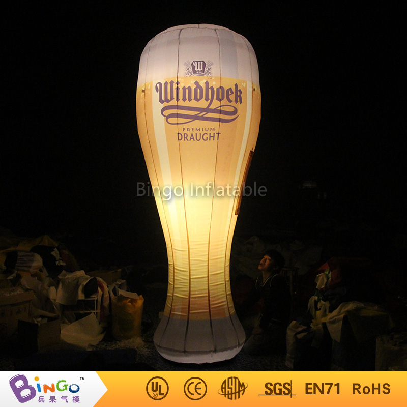 Bingo advertising 10ft. high inflatable beer glass cup with led lights for party Oktoberfest biginflatabel cask inflatabel beer can with led lighting 3 5m high for oktoberfest festival party model building kits
