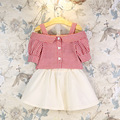 Ropa de los niños fijó 2016 del verano del nuevo strapless blusa + faldas 2 unids bebés arropa traje 2-7Y muchacha del niño rojo ropa ropa