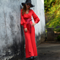 European Fashion 2016 Autumn Solid Color Elegant Wide Leg Jumpsuits High Waist Slim Casual Full Length Pants Red Woman Jumpsuits