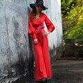 Moda europea 2016 Otoño Color Sólido Elegantes pantalones de Pierna Ancha Mono de la Alta Cintura Delgada Ocasional Pantalones Largos Rojo Mujer Buzos
