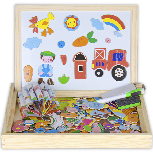 Wooden Hy Farm And Animal Magnetic Easel Board Jigsaw Puzzle Toy Box With Blackboard Whiteboard