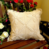 100% Cotton Knitting Throw Pillow Cases Hand Made Crocheted Lace Hollow Out Design Cafe Sofa Woven Cushion Cover Home Decoration
