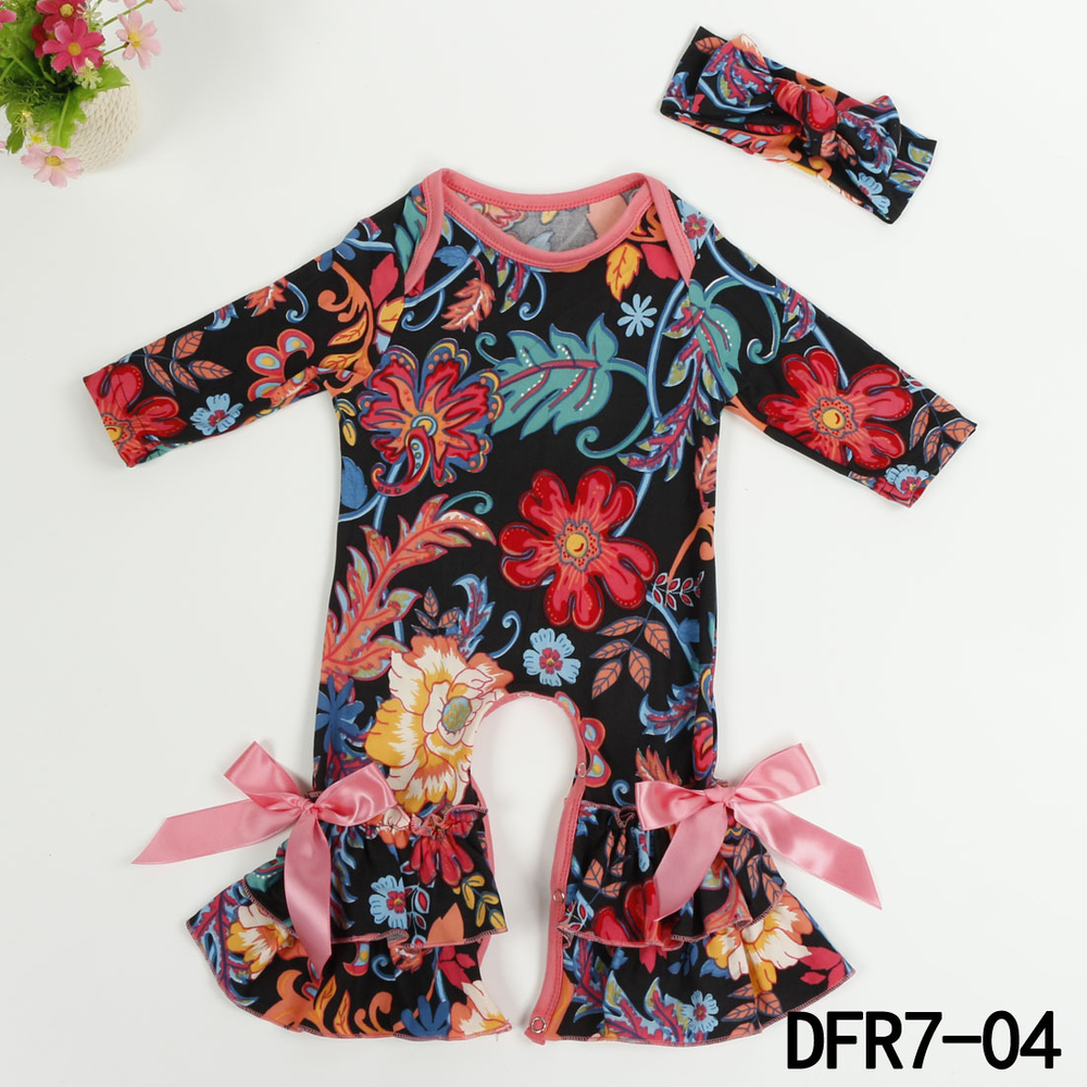 Newborn Baby Girl Clothes Rompers Long Sleeve Ruffle Pant Printed Baby Girl Clothing Ruffled Romper Night Gown Christmas GiftY