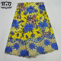 6yards Lot 100 Cotton African Lace Wax Textile For Dress With Embroidery And Stones African