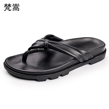 Summer slippers mens Genuine Leather breathable outdoor leisure thick bottom flip-flops cowhide Flip Flops casual Shoes beach
