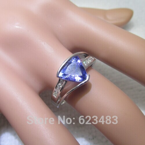 Solid 14k White Gold Natural Diamond Tanzanite Ring ...