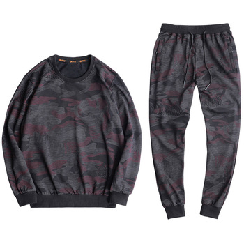 Spring Autumn Men Sporting Suit Sweatshirt+Pant Sportswear 2 Piece Set Tracksuit Camouflage Cotton Sweat Suit For Male Clothing