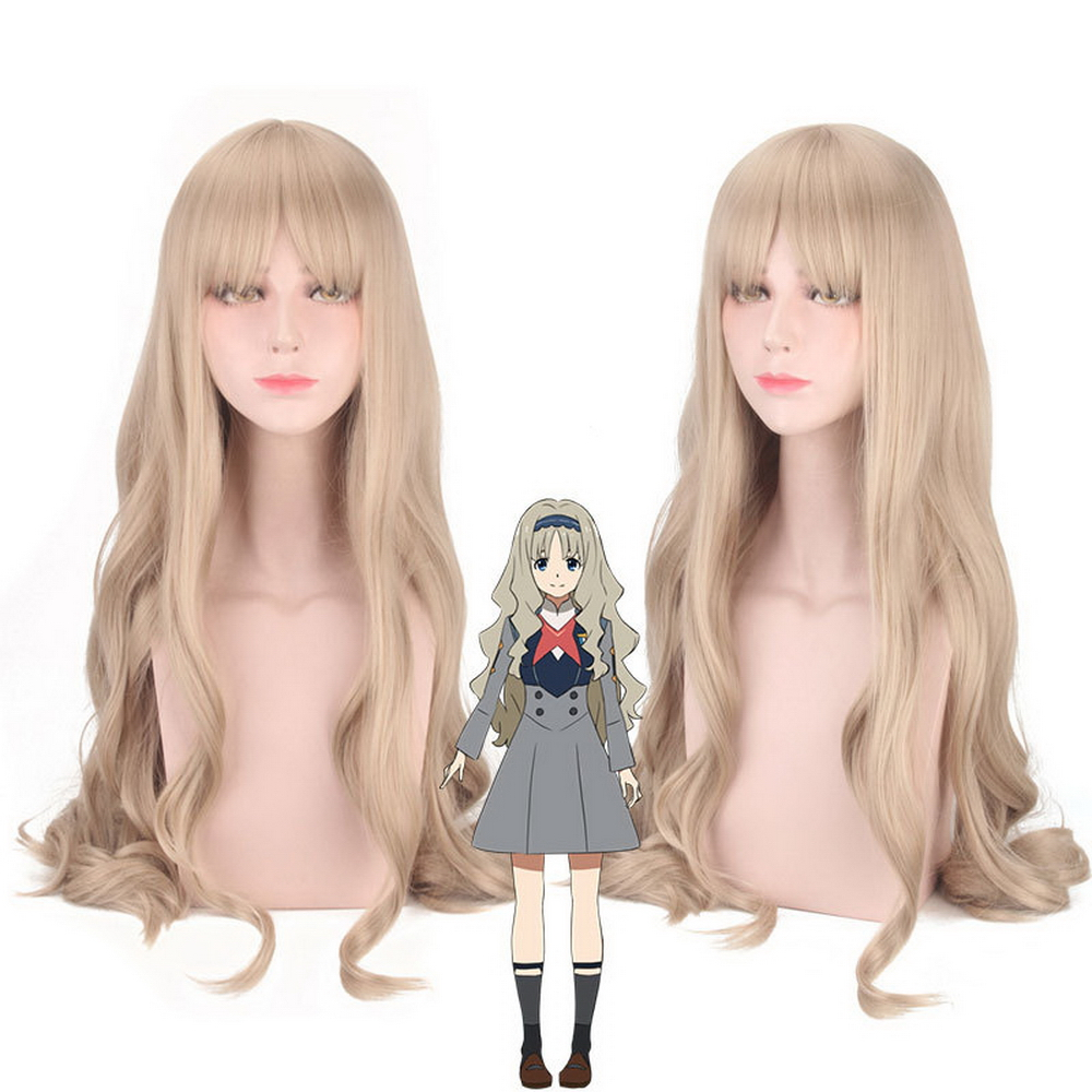 DARLING in the FRANXX KOKORO Blonde Cosplay Wig Costume 80cm Long Wavy Synthetic Hair Wigs For Women Perucas High Quality
