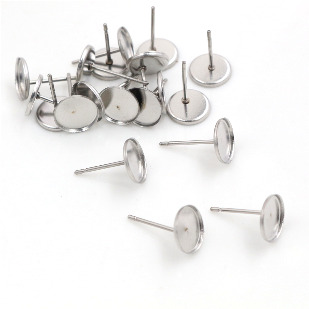 (Never Fade) 20pcs 8mm Stainless Steel Earring Base Studs Ear Cameo Settings Cabochon Base Tray Blank (With Back)-R1-06