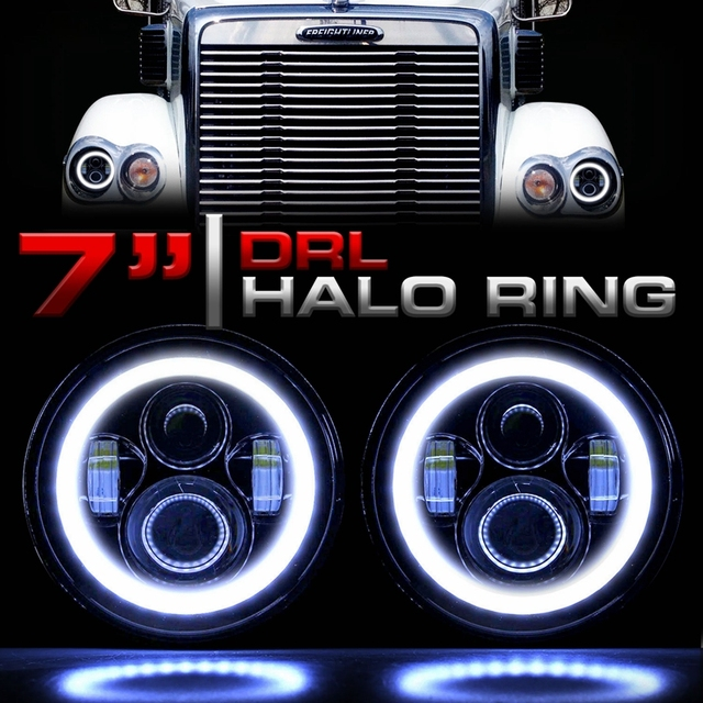 LED Headlights 7 Inch Headlamp Halo Angle Eyes for Freightliner