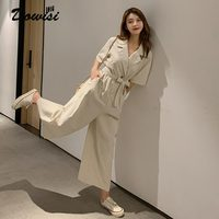 Dowisi wide leg jumpsuit female casual loose romper summer short sleeve combinaison women cotton linen ankle length pants overal