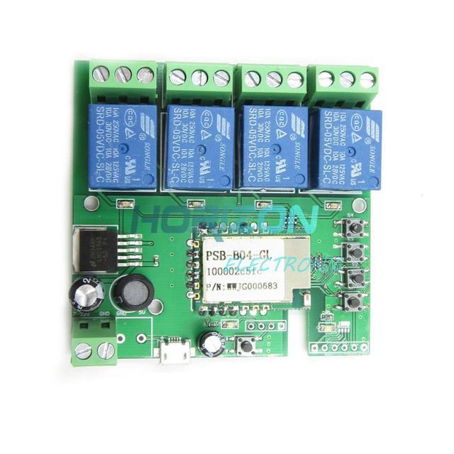 AC 5-32V WiFi Wireless Switch Relay Delay Module 4-way control for Smart Hom