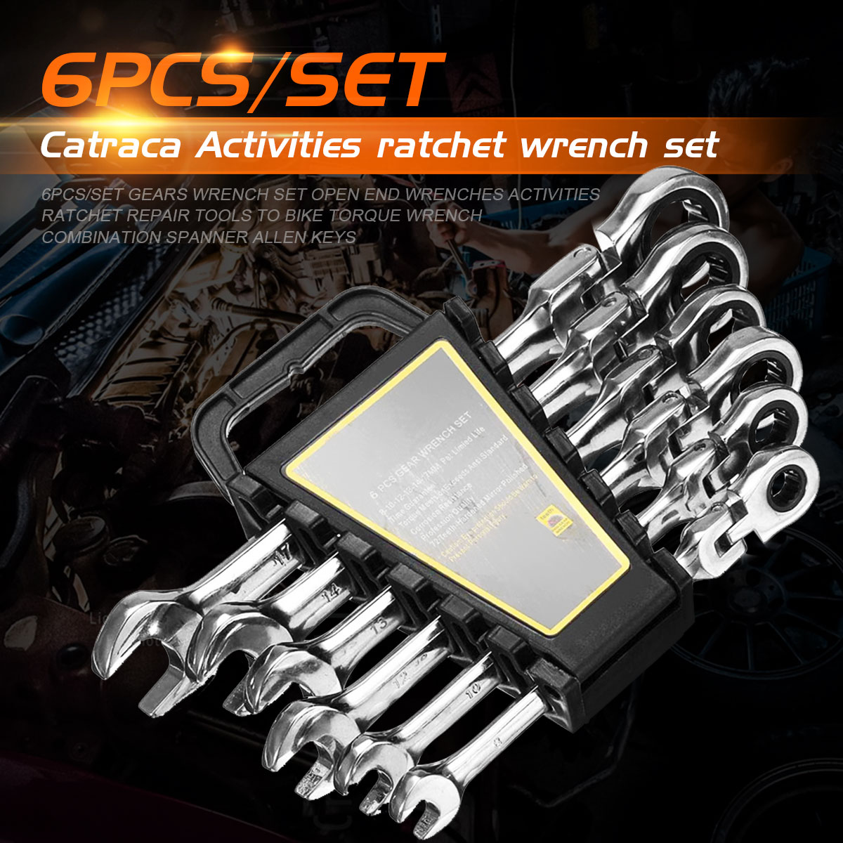 6pcs/set Gears Wrench Set Open End Wrenches Activities Ratchet Repair Tools To Bike Torque Wrench Combination Spanner Allen Keys newacalox 7pcs lot activities ratchet gears wrench set torque wrench combination spanner allen keys for bike car repair tools
