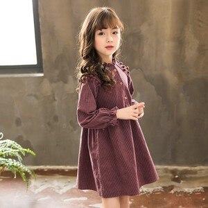 Весна 2020, полосатые хлопковые детские платья принцессы для маленьких девочек, Полосатое платье с длинными рукавами, осенняя трапециевидная...