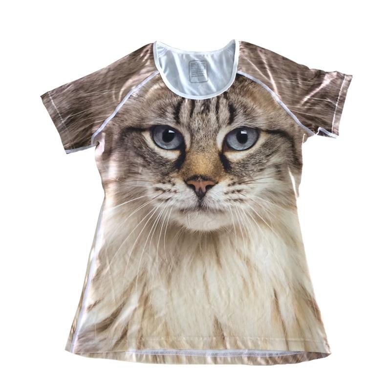 Nopersonality Cool տպագրական շուն Wolf Panda T-shirt - Կանացի հագուստ - Լուսանկար 3