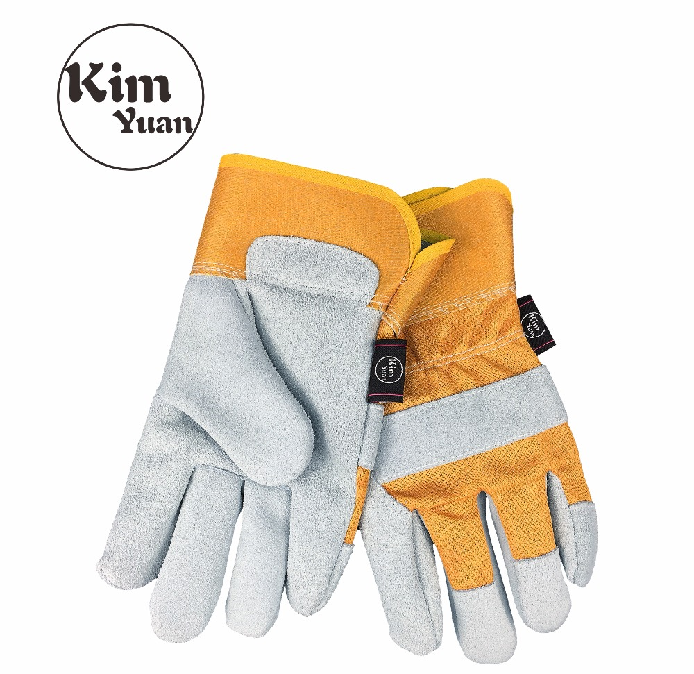 KIM YUAN 003 Yellow Leather Work Gloves, Anti-slippery & Dirt-resistant, Perfect for Construction/Motorcycle/Yard work,Men&Women kim yuan 021 cowhide winter warm windproof security protection working gloves for construction driver yard work men