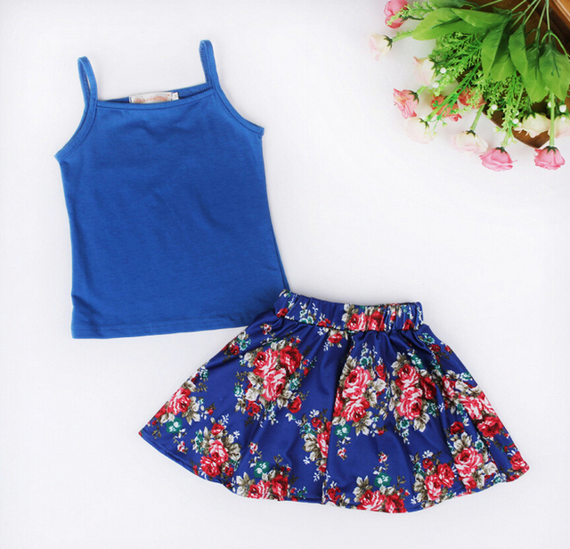 14ca7f98a6bf Baby Girls Fashion Skirts 2 Piece Summer Clothing Sets Cotton Blue  Sleeveless Vest+Floral Print Short Skirt Girls Summer Clothes