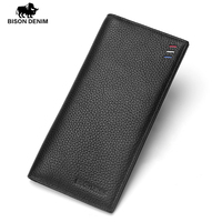 BISON DENIM 2017 Ultra Thin Cow Genuine Leather Wallet Men S Luxury Long Clutch Black Card