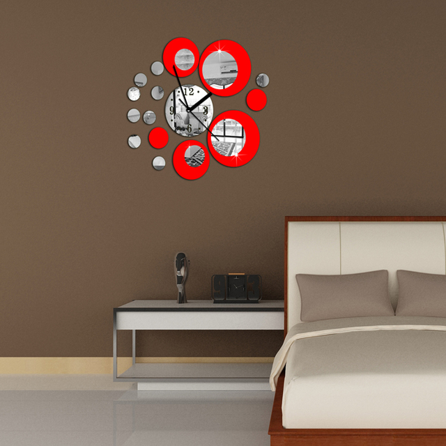 Red circle around wall sticker home decoration clock diy wall stickers home decoration removable vinyl wall