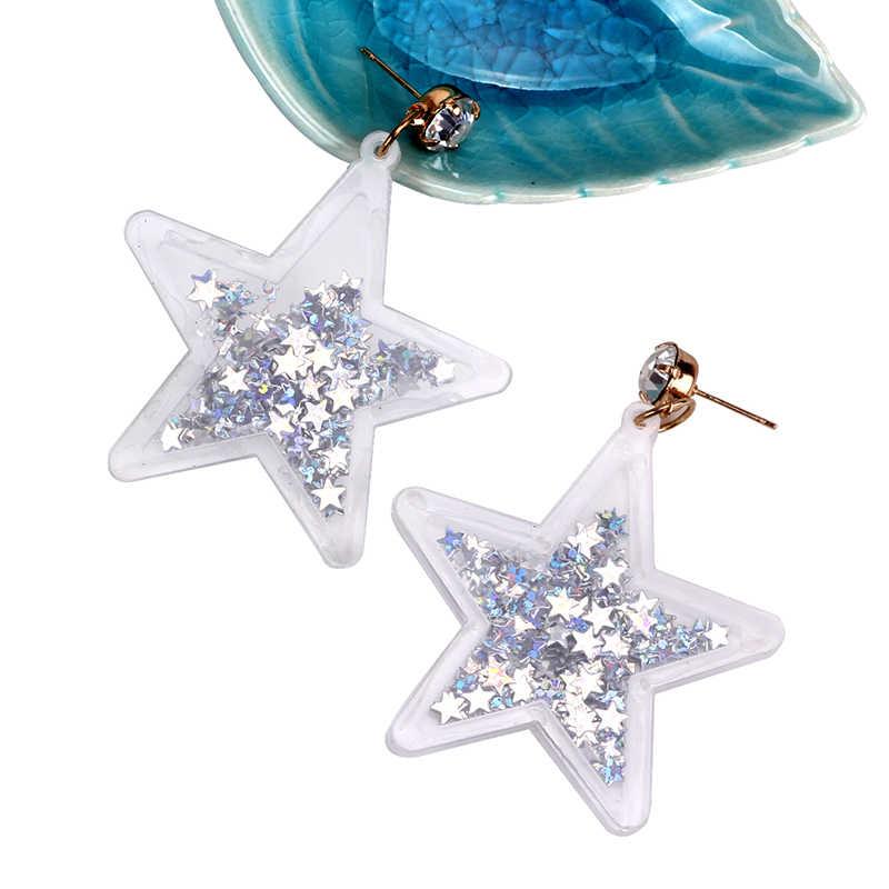 2018 New Hiphop Stars Acrylic Drop Glitter Crystal Shiny Earring Women Punk Night Club Rock Fashion Accessories Dangle Earrings