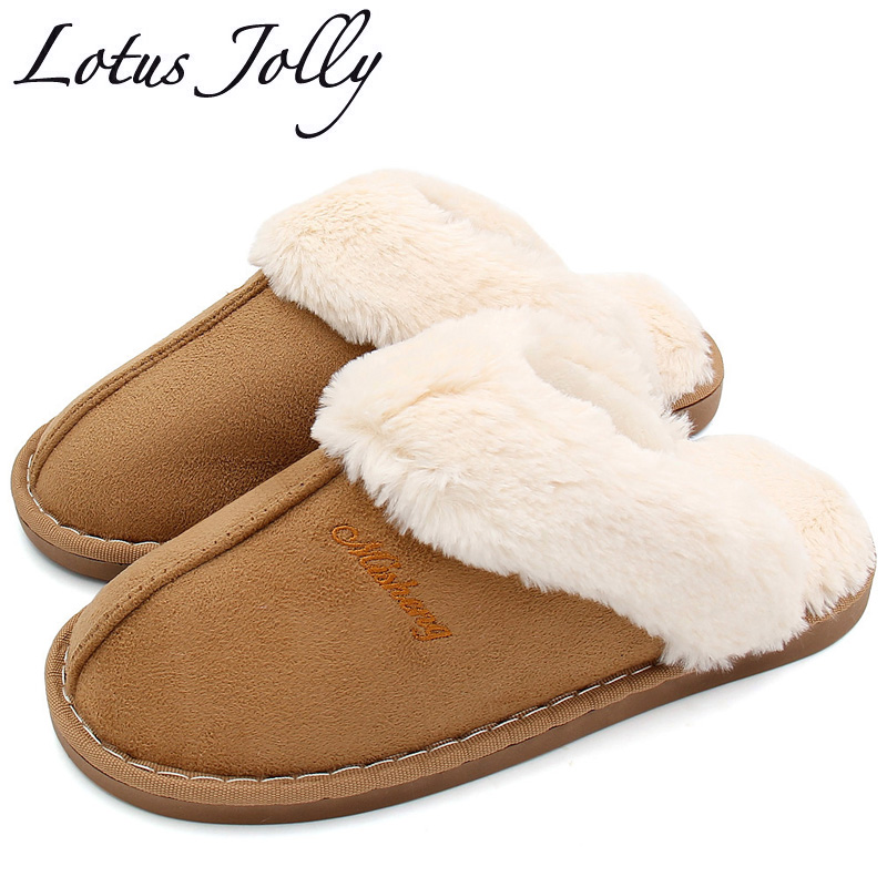 Women House Slippers Winter Warm Shoes Women Slip-on Suede Fur Plush House Slipper Indoor Bedroom Couples Memory Foam Home Shoes