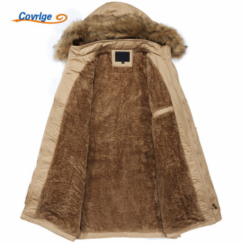 Covrlge 2018 Winter Warm Men's Jacket Parka Thick Warm Fur Collar Long Cotton Jacket Men Comfortable Cotton Hooded Parka MWM058