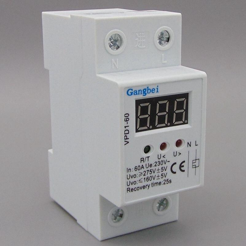 2 P 60A 220 V automatique reconnecter sur tension et sous la protection de tension dispositif de protection relais avec Voltmètre moniteur de tension